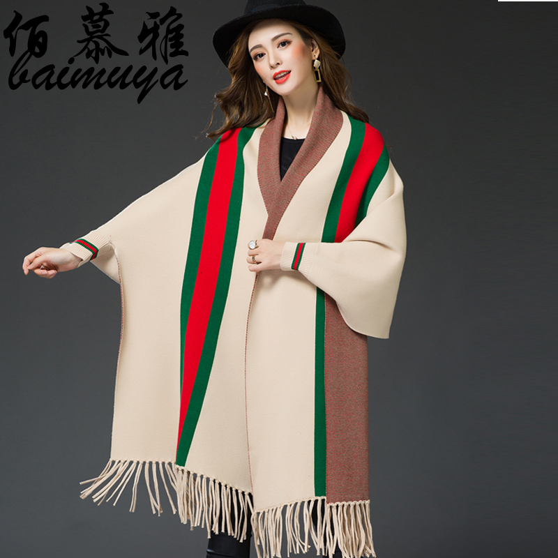 Striped scarf fringed shawl cape coat women 16 new winter sweater thick bat sleeve knit cardigan 20
