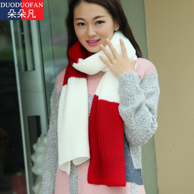Students spell color wild long section of thick wool scarves korean female winter thick warm korean version of knitted scarf autumn and winter