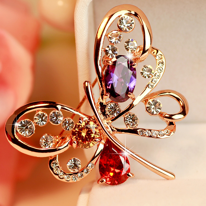 Stunning exquisite austrian crystal butterfly brooch female korean cute korean fashion corsage brooch with jewelry