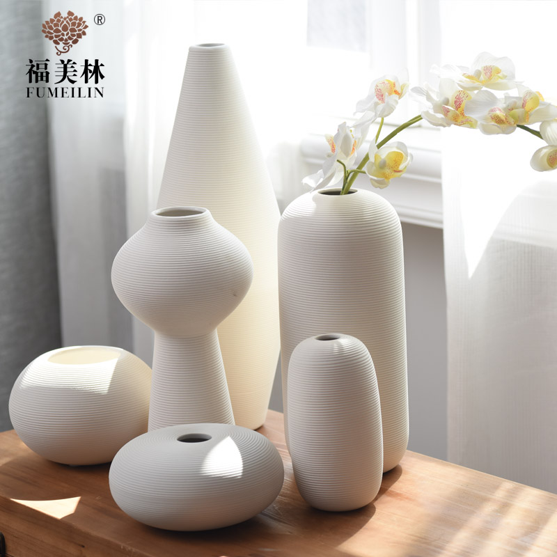 Stylish modern minimalist white ceramic vase ornaments living room home decorations put set soft decorations free shipping