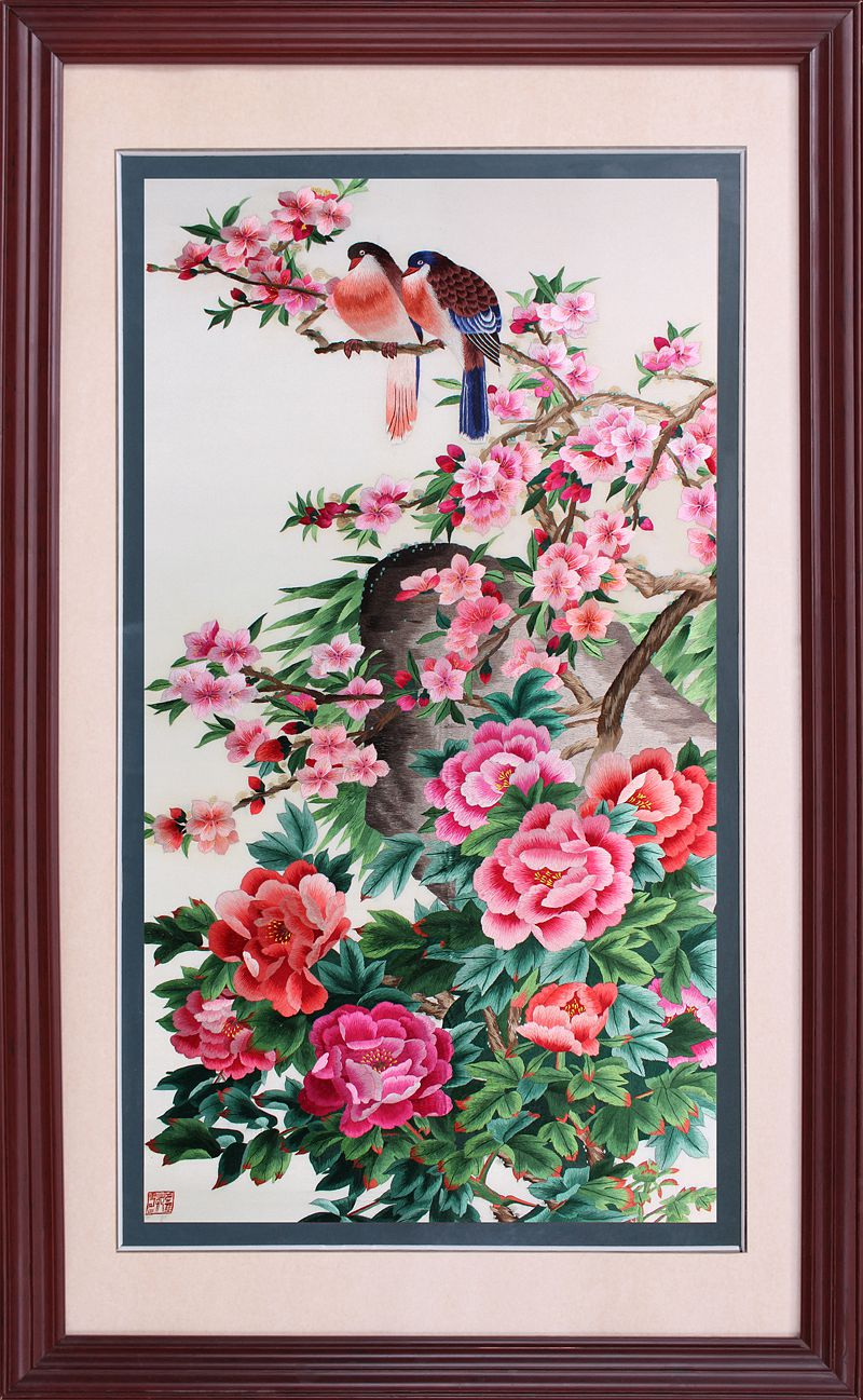 Su street family handmade embroidery finished embroidery peony flowers and birds non stitch decorative painting off the mysterious