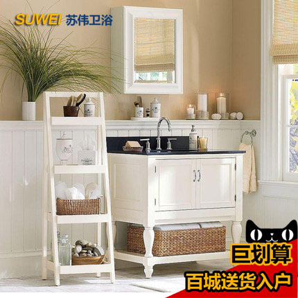 Su wei contadino bathroom cabinet oak floor bathroom cabinet bathroom cabinet combination wash washbasin cabinet american mediterranean wood