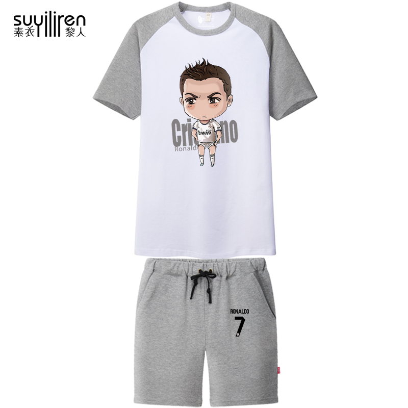 Su yi li people c ronaldo real madrid soccer jersey dress suit short sleeve shorts summer t-shirt large size men blazer