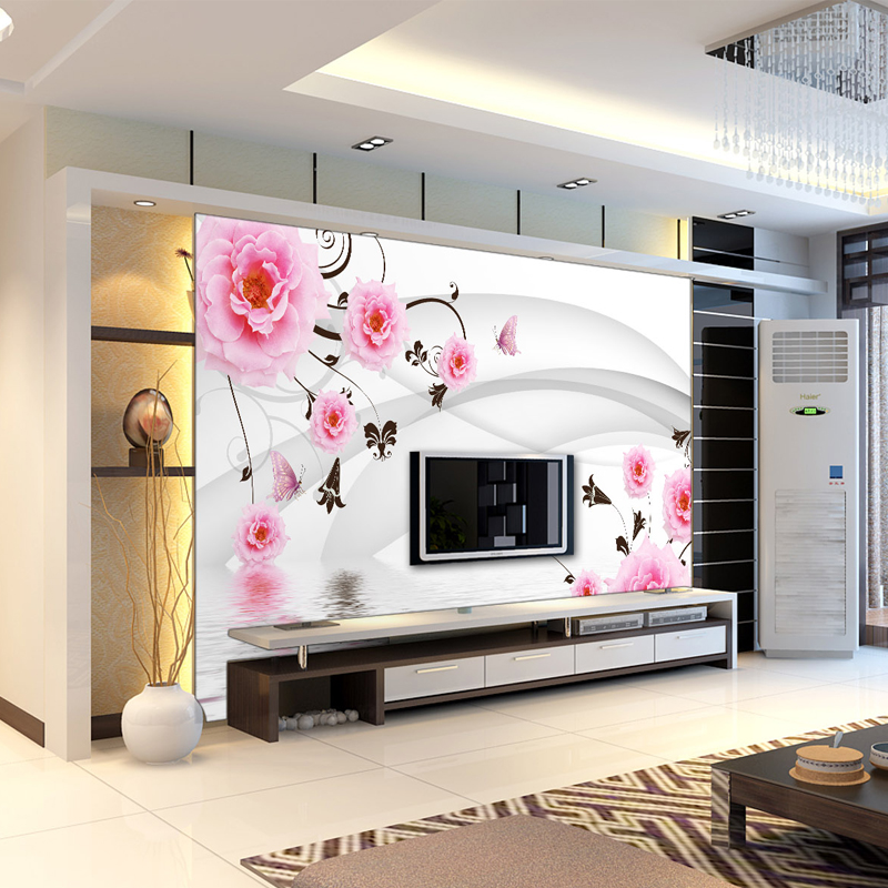 Su yi tv backdrop wallpaper wallpaper murals nonwoven wallpaper seamless 3d stereoscopic large mural of roses