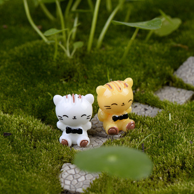 Succulents small decorative ornaments micro landscape small ornaments moss micro landscape put small pieces of small animal sitting White cat