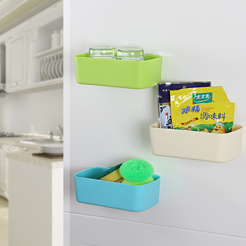 Sucker kitchen bathroom wall shelf storage box cosmetic storage rack bathroom storage rack