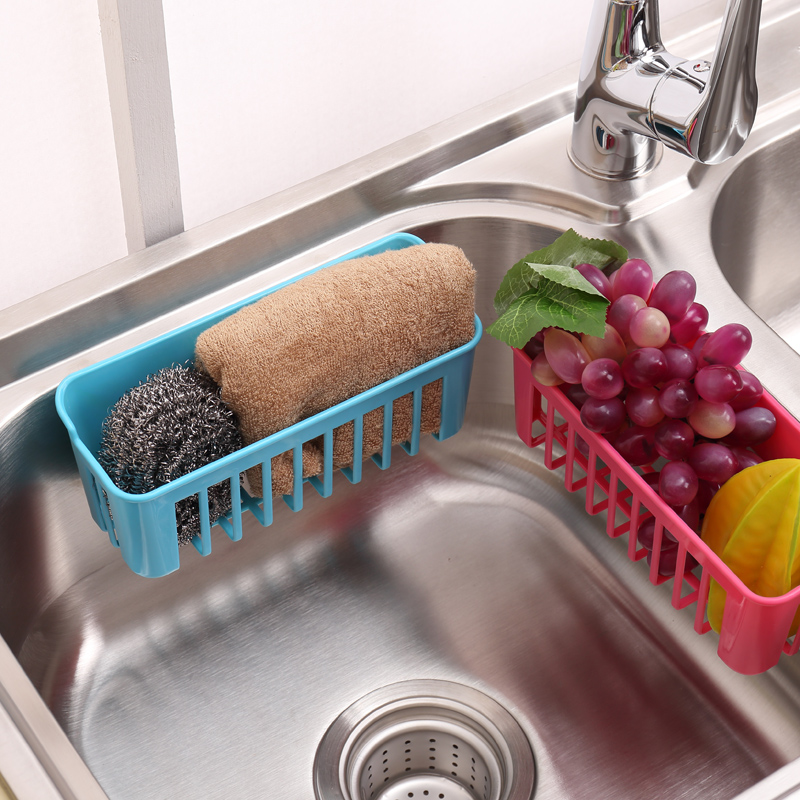 Sucker shelf storage basket versatile multifunction wall double sucker kitchen sink drain and dishwashing sponge holder