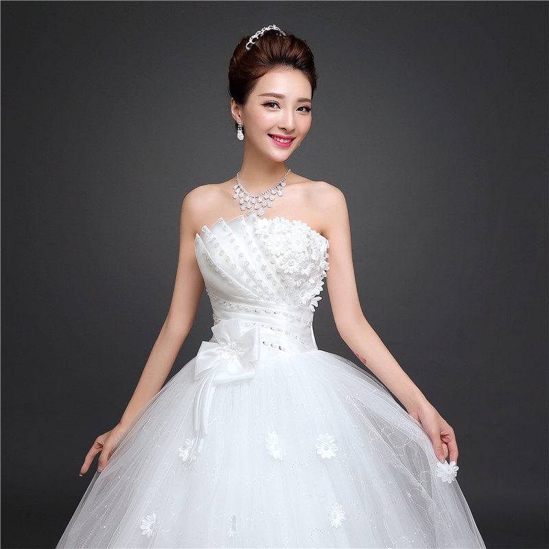 Summer and autumn korean bride wedding dress 2016 new wedding dress was thin bra wedding tie wedding wedding lyg