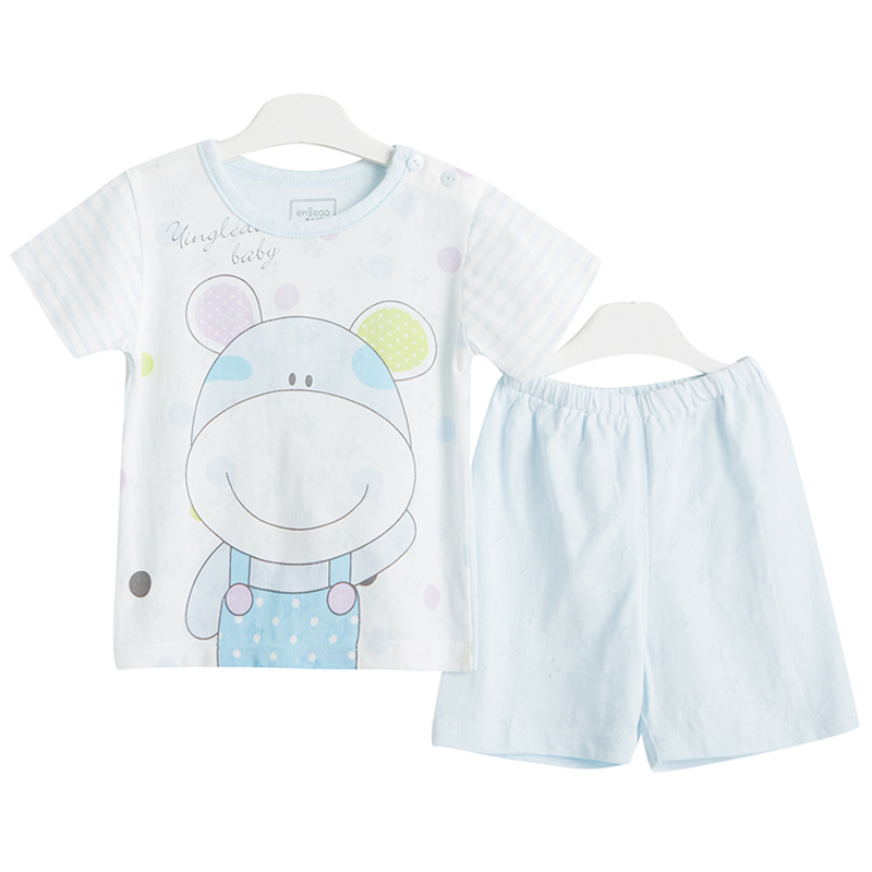 Summer baby short sleeve suit thin section baby summer short sleeve shorts suit boys and girls out clothes for children