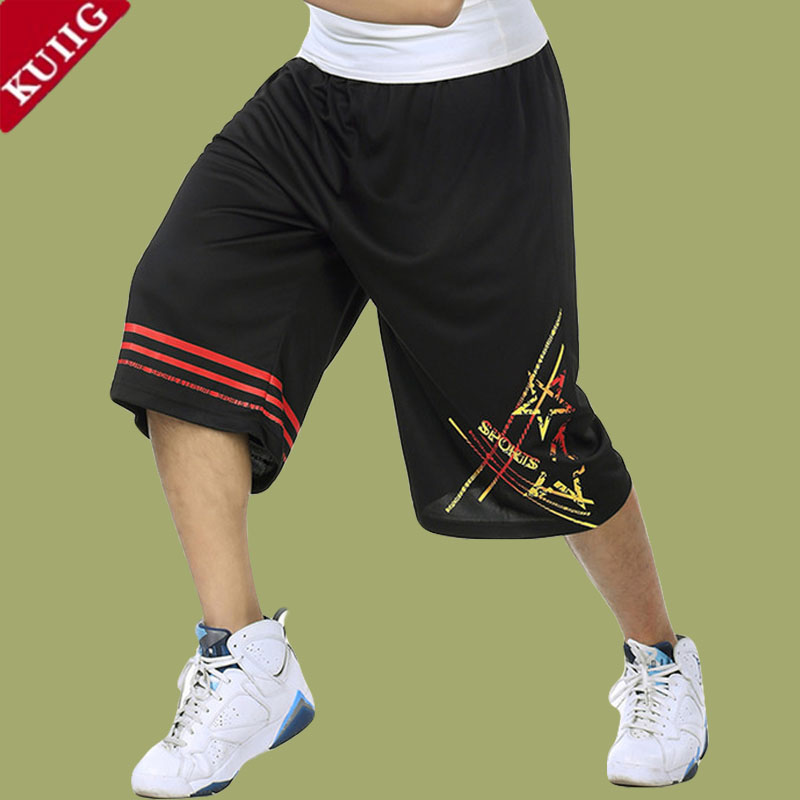 Summer basketball shorts men and five pants thin section sports pants plus fertilizer to increase oversized loose big yards basketball pants