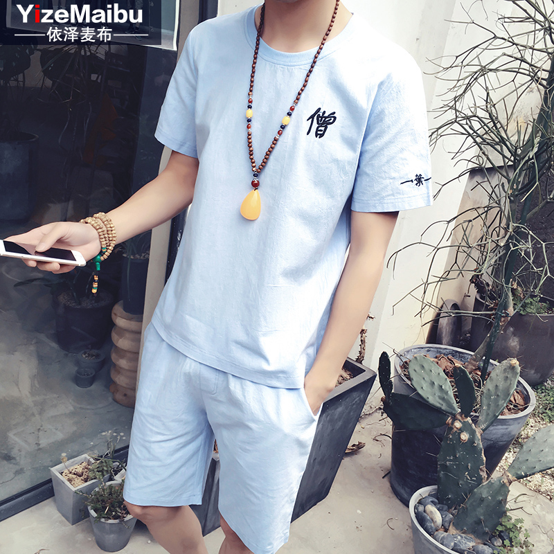Summer casual linen suit short sleeve t-shirt trend of japanese thin section sleeve cotton body shirt casual shorts suit