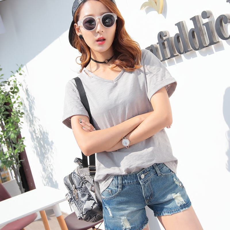 Summer cotton short sleeve cotton t-shirt female slubby color v-neck bottoming shirt solid color black white casual shirt sleeve korean