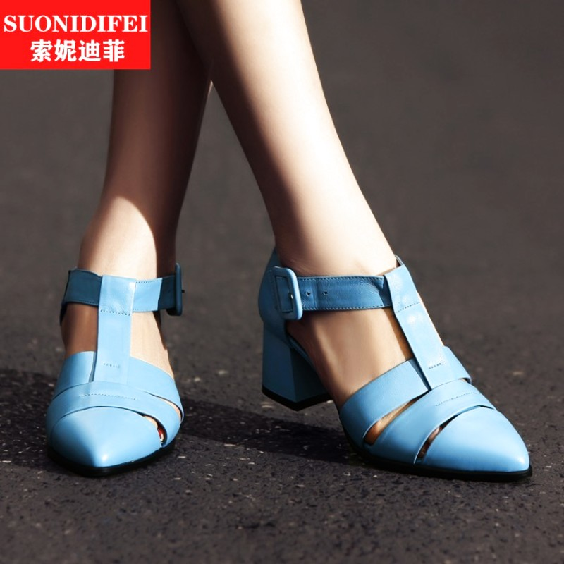 Summer fashion elegant black baotou thick with water dyed leather female cool boots sandals shoes heels shoes new leather belt