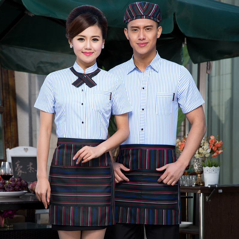 Summer hotel uniforms female summer fast food restaurant waiter overalls sleeved clothing hotel uniforms overalls