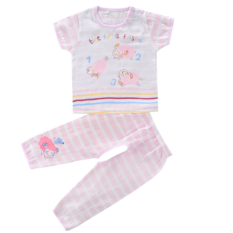 Summer infant short sleeve cotton gauze open file pants suit baby underwear children's pajamas summer home service