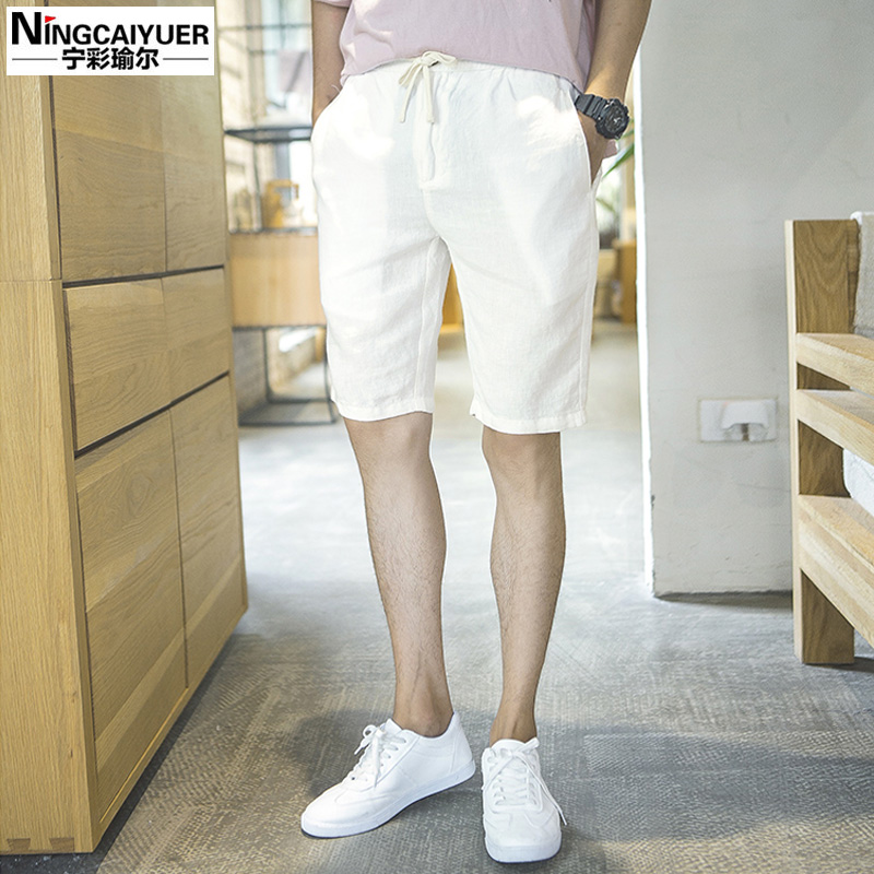 Summer influx of male teenagers cotton linen shorts casual shorts fifth male close waist tether pants beach pants tide