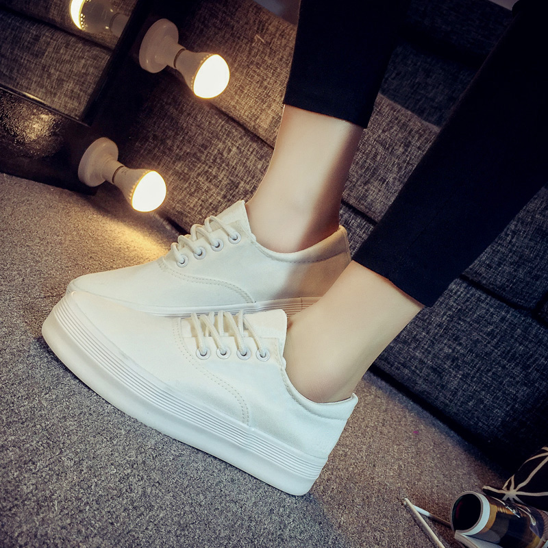 Summer korean version spell color canvas shoes women flat shoes student shoes white sneakers casual shoes white shoes thick crust