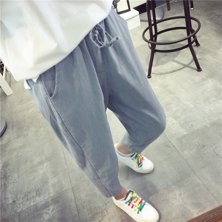 Summer loose korean casual pants pantyhose feet pants cotton pants female 2016 korean version of the new spring and summer