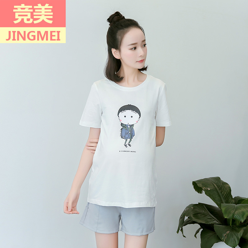 Summer maternity dress shirt korean summer short sleeve t-shirts for pregnant women pregnant women cotton long section of compassionate