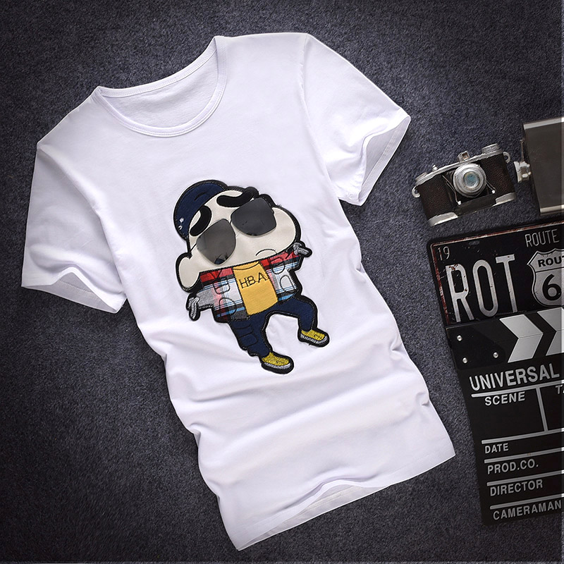 Summer men's crayon cartoon printed round neck short sleeve t-shirt sleeve shirt bottoming shirt teenage students