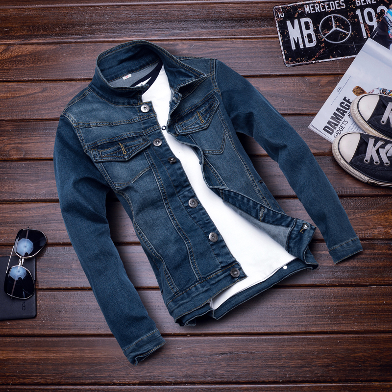 Summer men's outer wear denim micro bomb casual jacket young korean slim denim jacket male coat gown