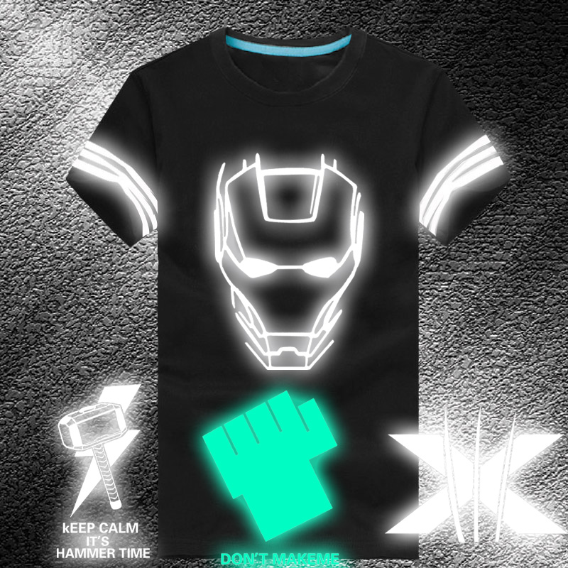 Summer men's short sleeve t-shirt riversky luminous reflective luminous hero cotton round neck adolescent students