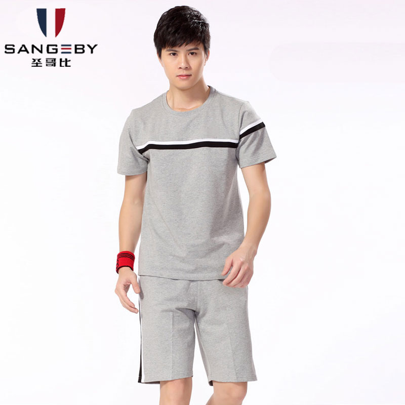 Summer men's sports suit male summer new short sleeve casual jogging shorts sportswear men round neck cotton lycra shipping