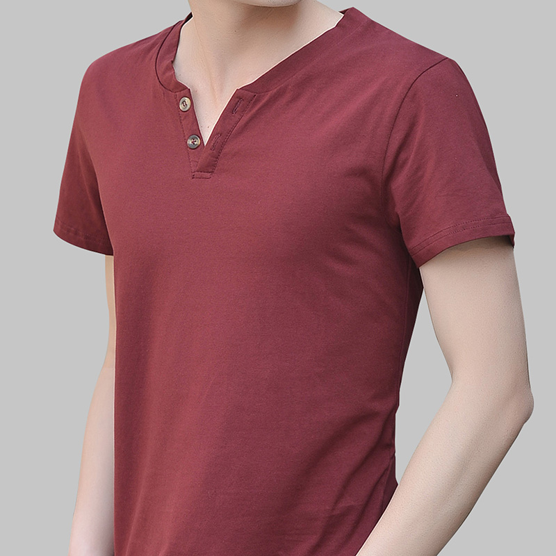 Summer men's v-neck short sleeve t-shirt korean slim influx of young men's half sleeve cotton solid color large size casual shirt