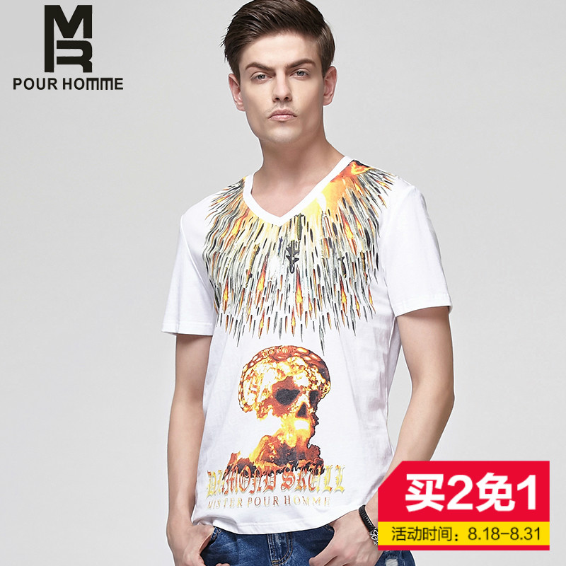 Summer new fashion personality short sleeve t-shirt MR2016 skull printing compassionate men round neck pullover sweater tide