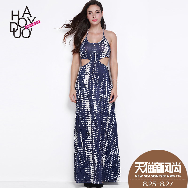 Summer new hit color printing Haoduoyi2016 hollow halter waist harness dress halter dress
