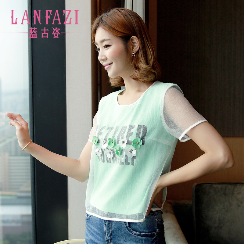 Summer new korean version of Lanfazi2016 letters printed on clothes t shirt female three-dimensional flowers organza