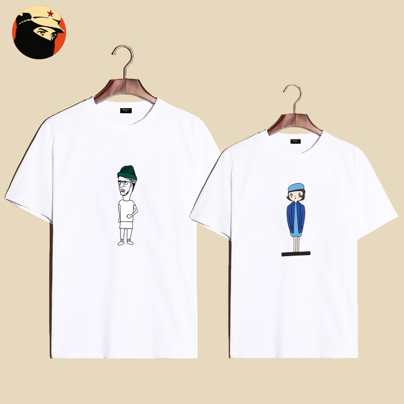 Summer new korean version of the cartoon stamp lovers male and female models simple cotton loose xl t-shirt sleeve