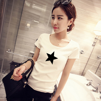 Summer new korean version of the consultancy firm booz letters printed stretch short sleeve t-shirt inside the ride bottoming qinfu female g006