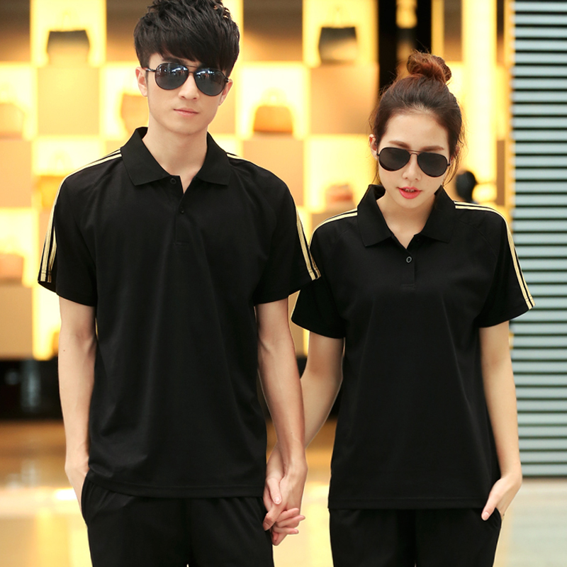 Summer new lapel short sleeve pant suit sportswear breathable sports men and women genuine couple casual clothes