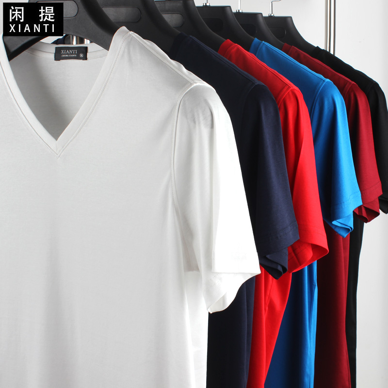 Summer new men's v-neck short sleeve t-shirt with high texture density superfine 70 mercerized cotton solid color t-shirt t-shirt
