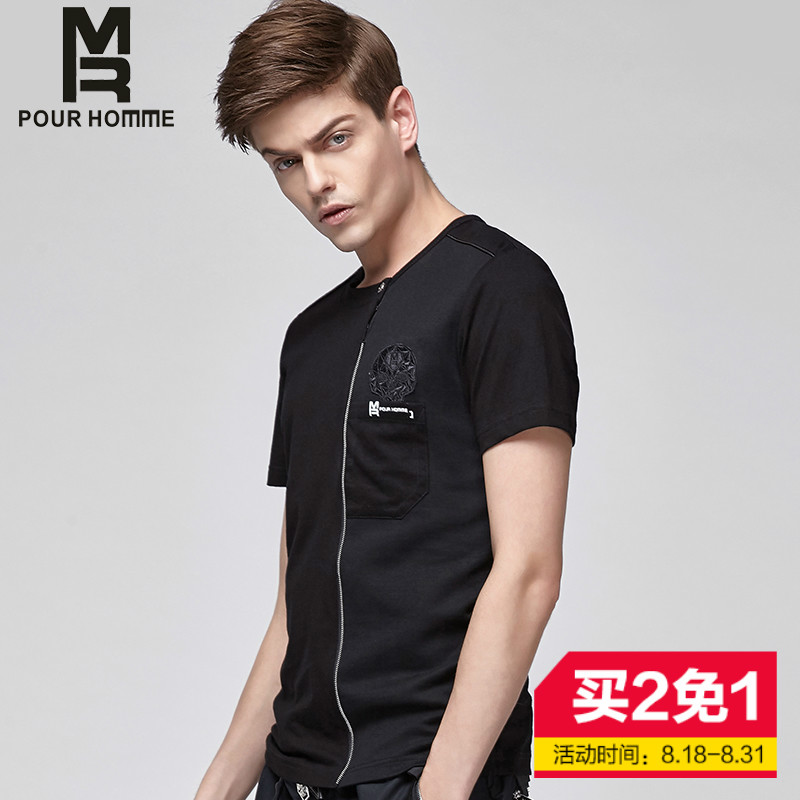 Summer new zipper MR2016 decorative skull patch short sleeve t-shirt casual shirt tide male fashion pure color