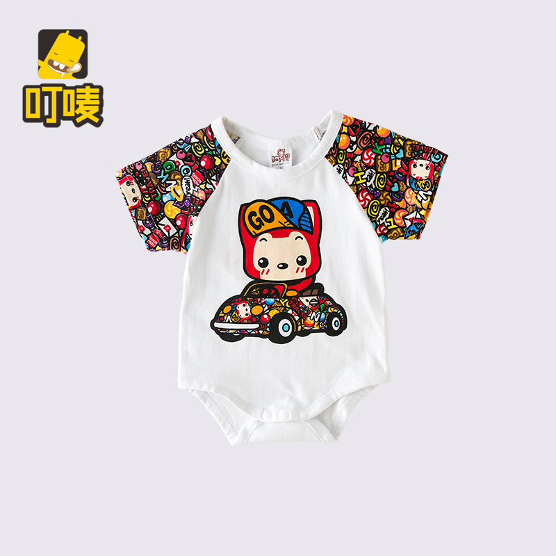 Summer newborn baby cotton triangle climbing clothing for men and women baby six months of age 1 years old baby siamese romper summer short sleeve dress