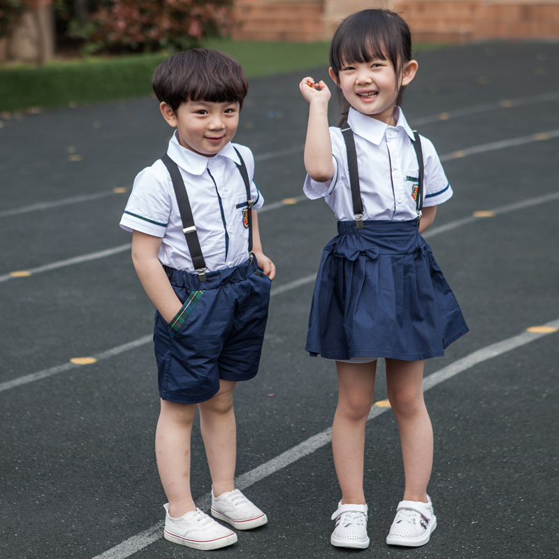 Summer paragraph cotton kindergarten students dress uniforms class service choral service 61 children's day british style children's suits