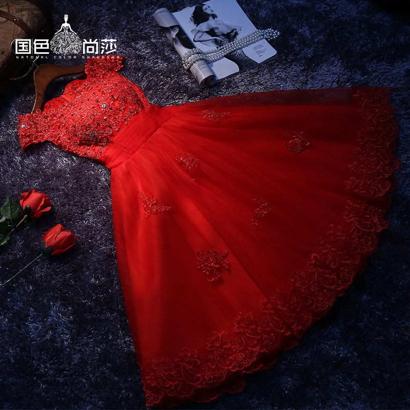 Summer red engagement bride toast clothing fashion evening dress short paragraph wedding dress wedding dress big yards female autumn slim