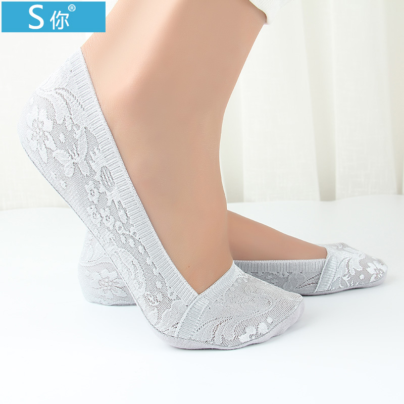 Summer shallow mouth duantong ms. seamless ice silk socks lace socks cotton socks thin models to help low slip silicone