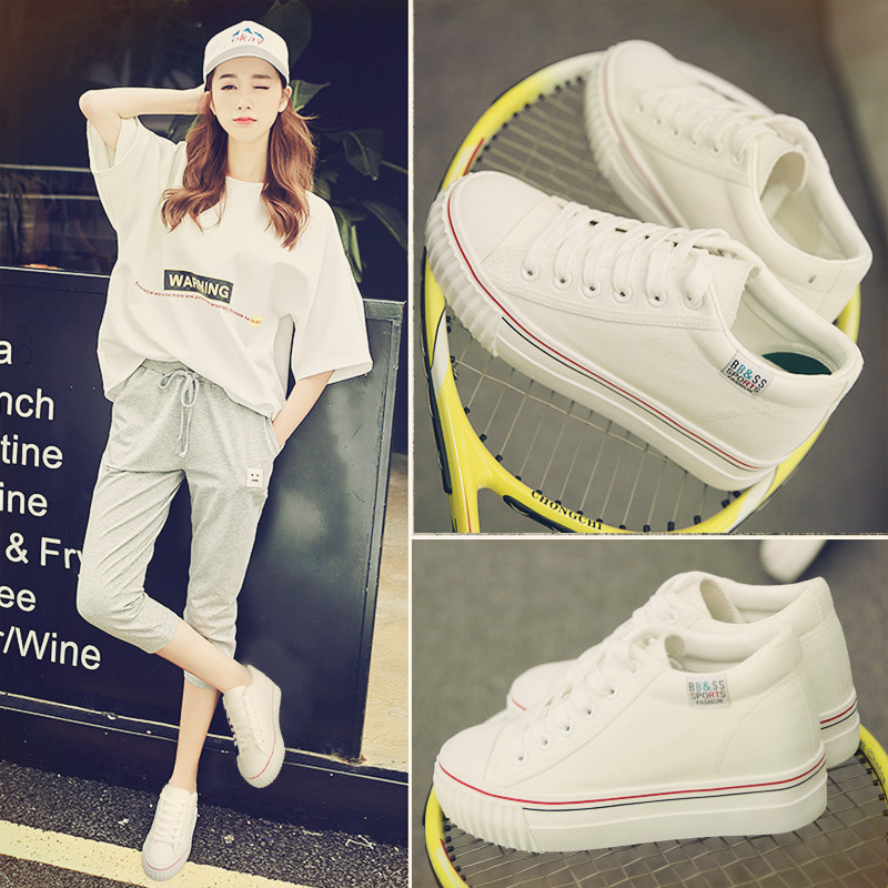 Summer shoes thick crust white canvas shoes women shoes autumn shoes student shoes casual shoes increased within the white shoes korean version of the ball