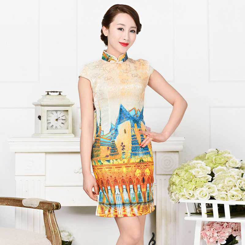Summer short sleeve cheongsam dress short paragraph short paragraph low slits wishful lapel summer cotton collar elegant temperament slim female dress