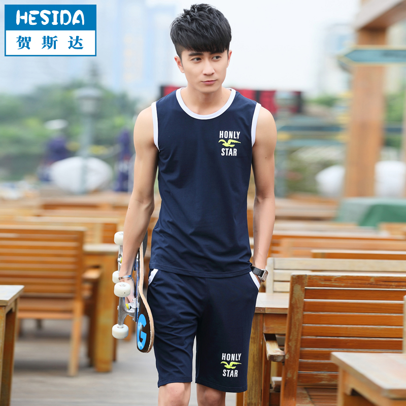 Summer sleeveless vest shorts sports suit male gym sportswear suit male runners clothes men suit thin