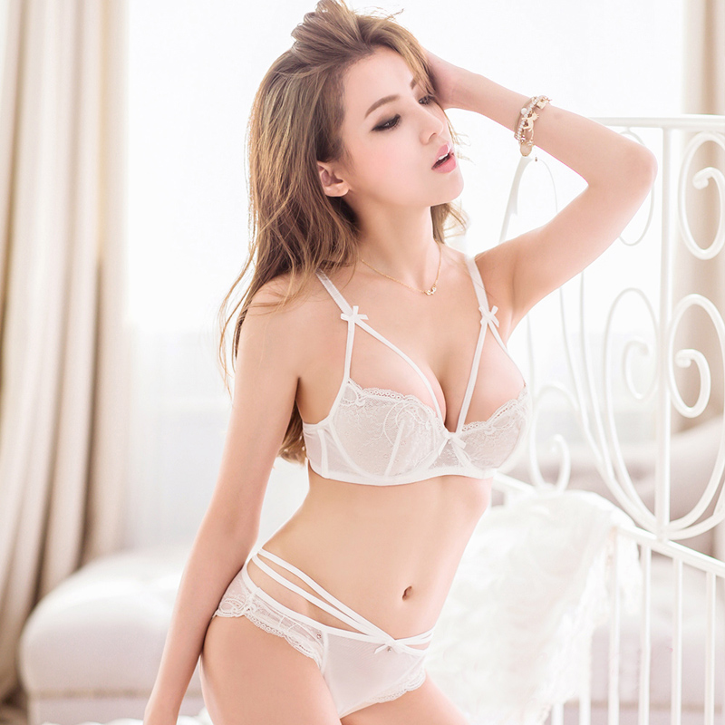 Summer thin models sexy lace transparent gauze temptation sexy lingerie bra set ladies gather bra