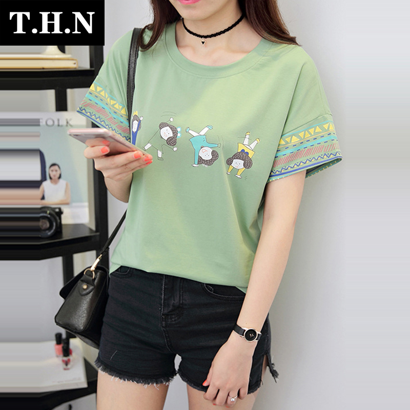 Summer youth t-shirt printing loose short sleeve t-shirt wild female korean cute high school students at the beginning of sleeve t-shirt