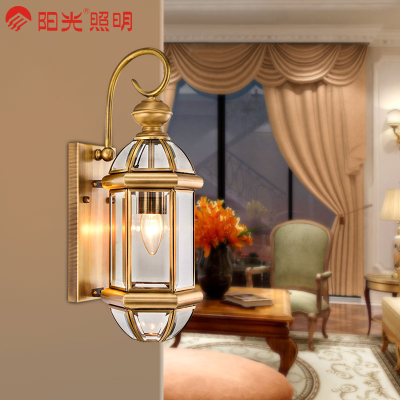 Sunshine lighting european background wall outdoor wall lamp waterproof outdoor terrace courtyard full copper lamps copper lamps copper lamps wall lamp wall lamp