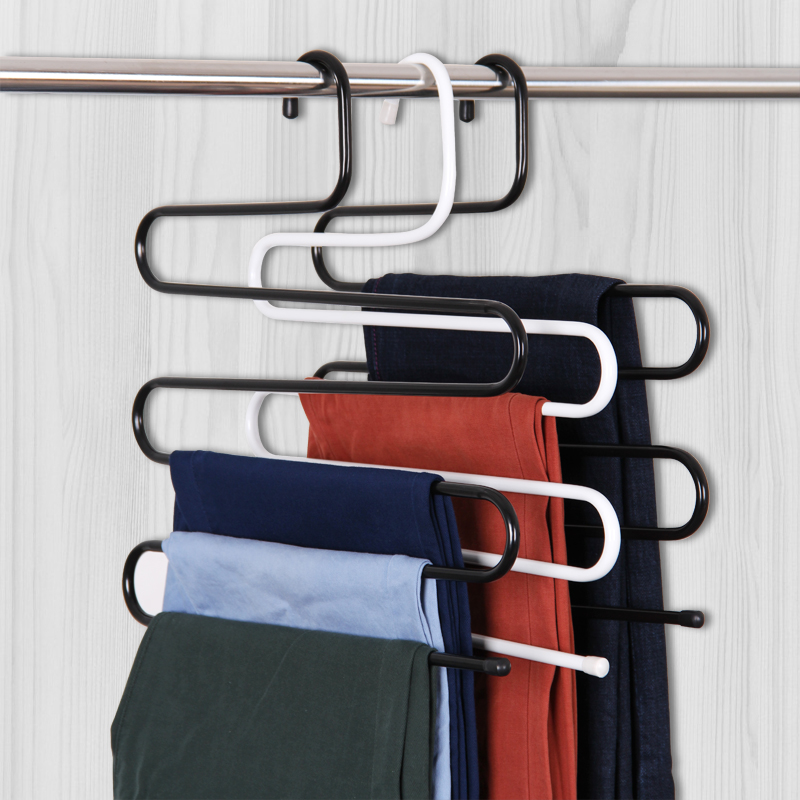 Suo ernuo rack wrought iron s type 5 layer pants rack pants pants hanging pants hanger closet storage rack free shipping three loaded