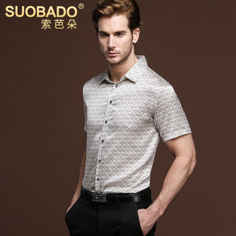 Suoba flower business casual men short sleeve plaid shirt silk blouse silk shirt silk satin