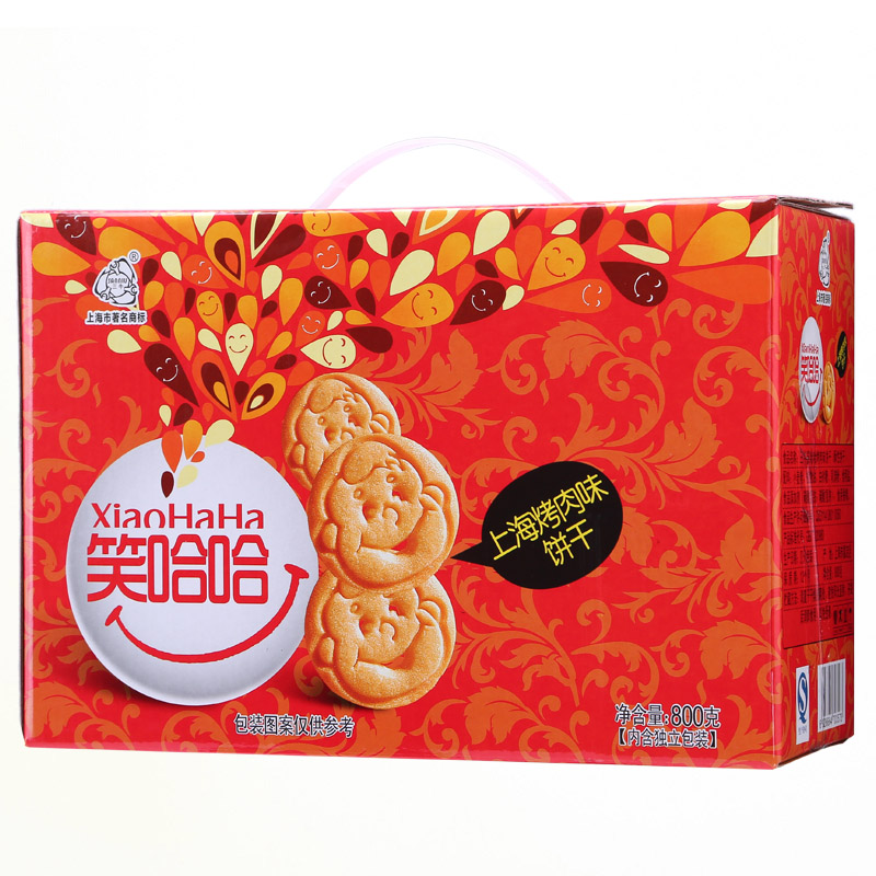 [Supermarket] lynx three cattle laughingly barbecue flavor biscuits 800g/casual gift box of old shanghai