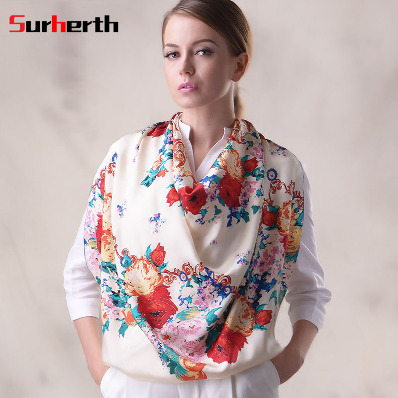 Surherth customized plant flowers 2016 new silk scarves silk scarves printed scarves large square scarf